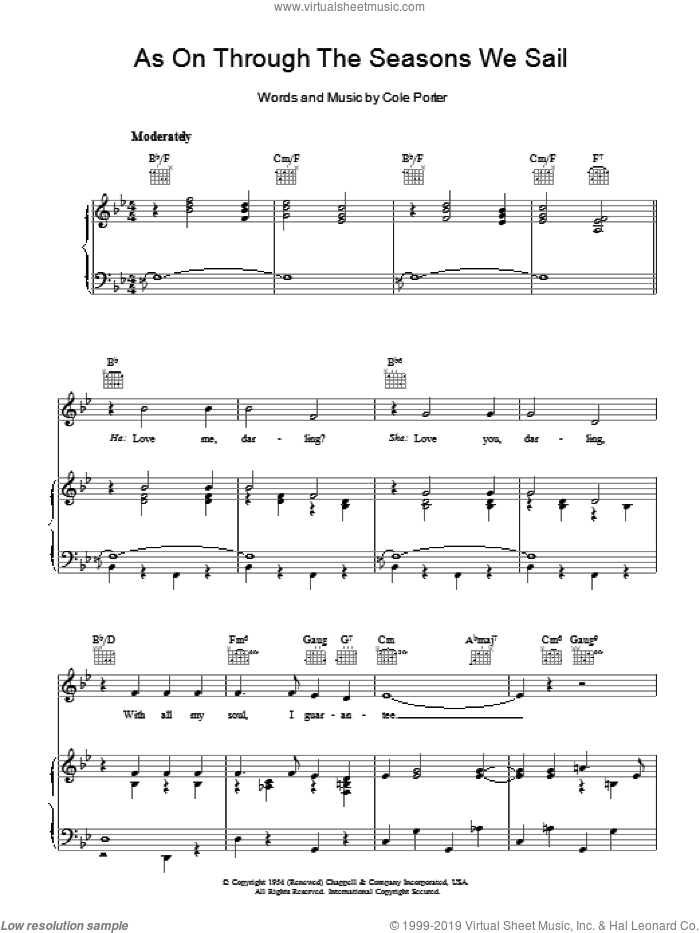 As On Through The Seasons We Sail sheet music for voice, piano or guitar by Cole Porter. Score Image Preview.