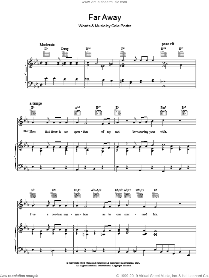 Far Away sheet music for voice, piano or guitar by Cole Porter, intermediate voice, piano or guitar. Score Image Preview.