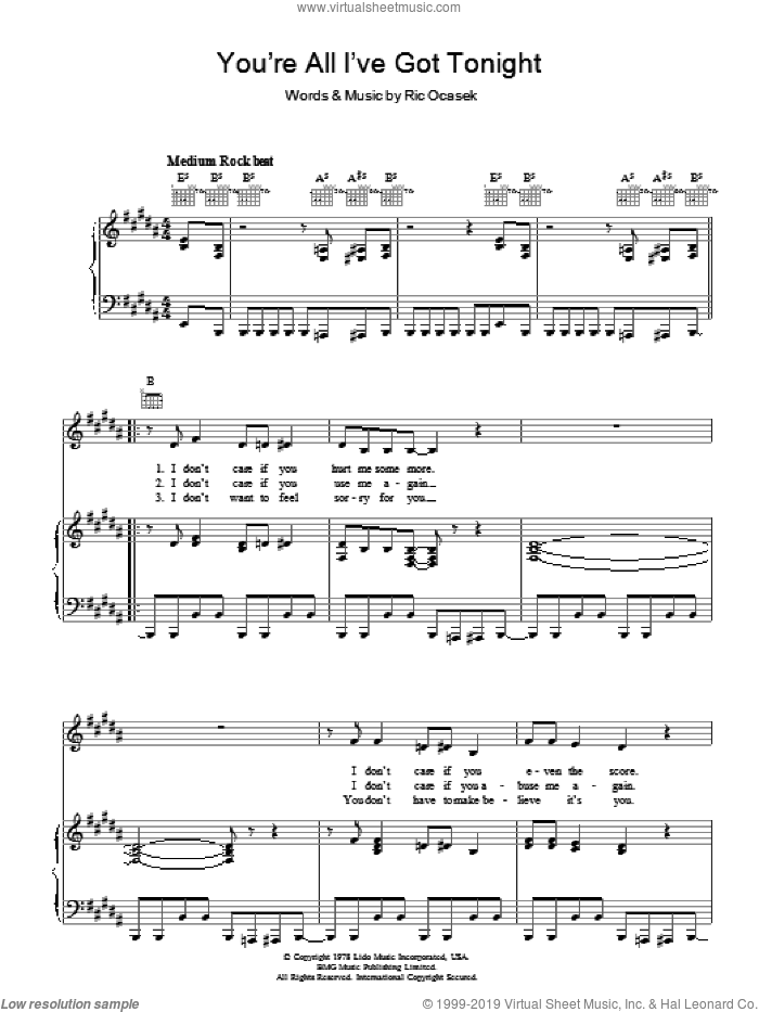 You're All I've Got Tonight sheet music for voice, piano or guitar by Ric Ocasek. Score Image Preview.