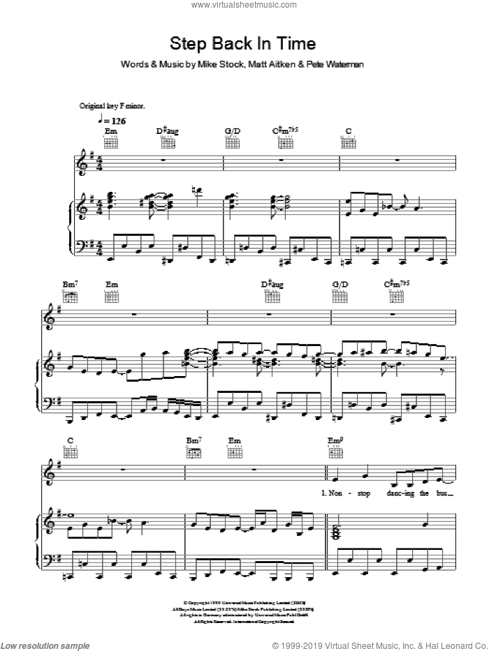 Step Back In Time sheet music for voice, piano or guitar by Kylie Minogue, intermediate voice, piano or guitar. Score Image Preview.