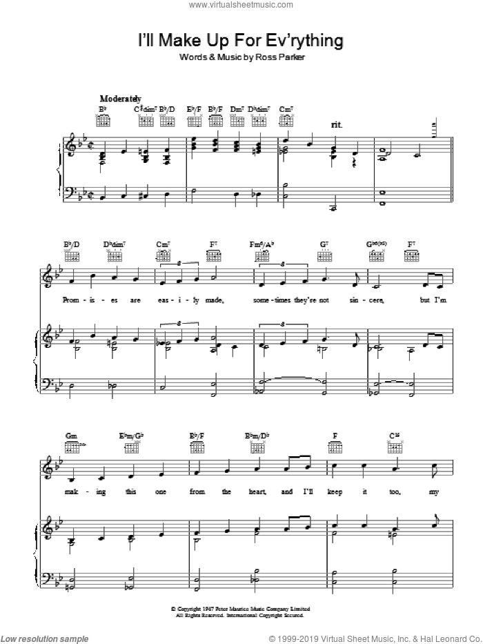 I'll Make Up For Ev'rything sheet music for voice, piano or guitar by Ross Parker