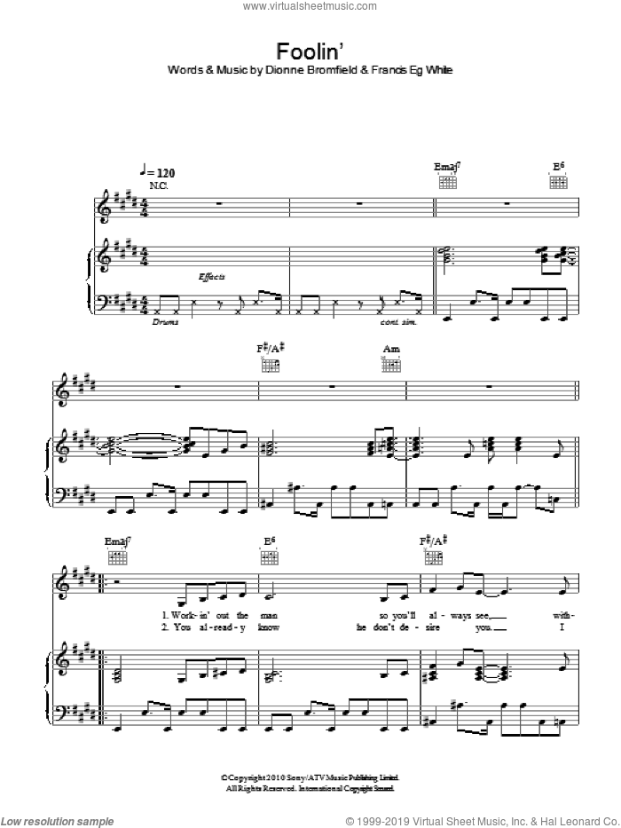 Foolin' sheet music for voice, piano or guitar by Dionne Bromfield and Francis White, intermediate. Score Image Preview.