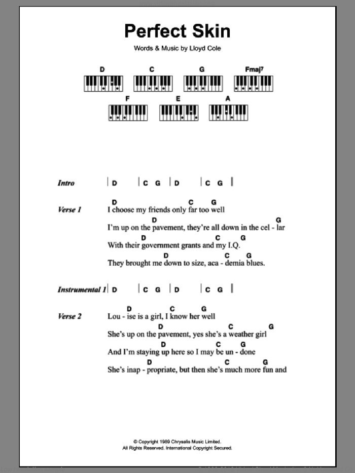 Perfect Skin sheet music for piano solo (chords, lyrics, melody) by Lloyd Cole, intermediate piano (chords, lyrics, melody)