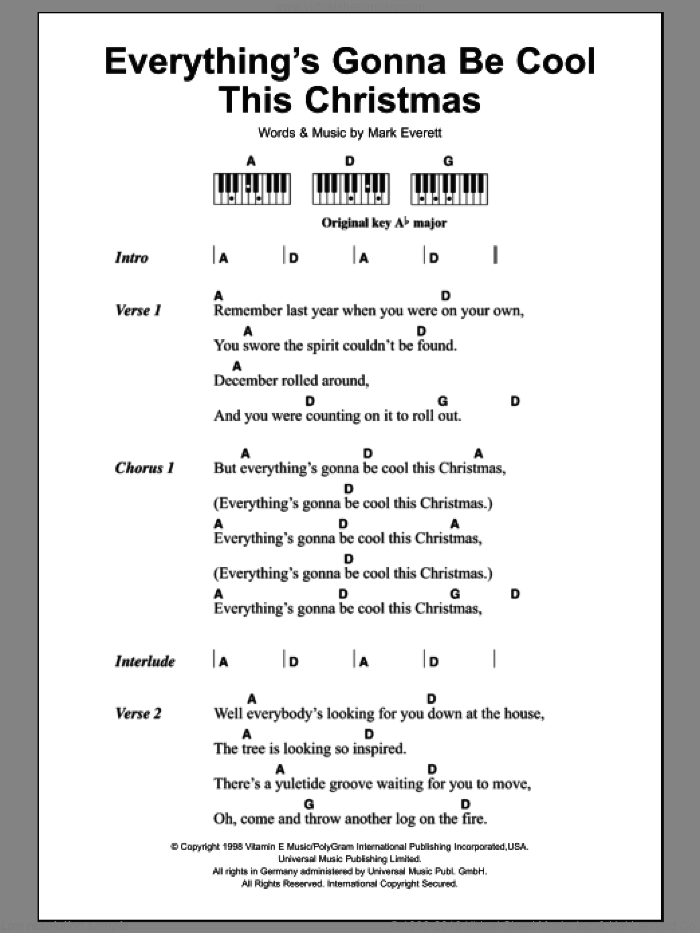 Everything's Gonna Be Cool This Christmas sheet music for piano solo (chords, lyrics, melody) by Eels and Mark Everett, intermediate piano (chords, lyrics, melody)
