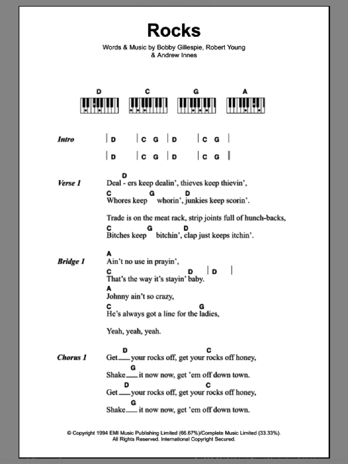 Rocks sheet music for piano solo (chords, lyrics, melody) by Robert Young and Andrew Innes. Score Image Preview.