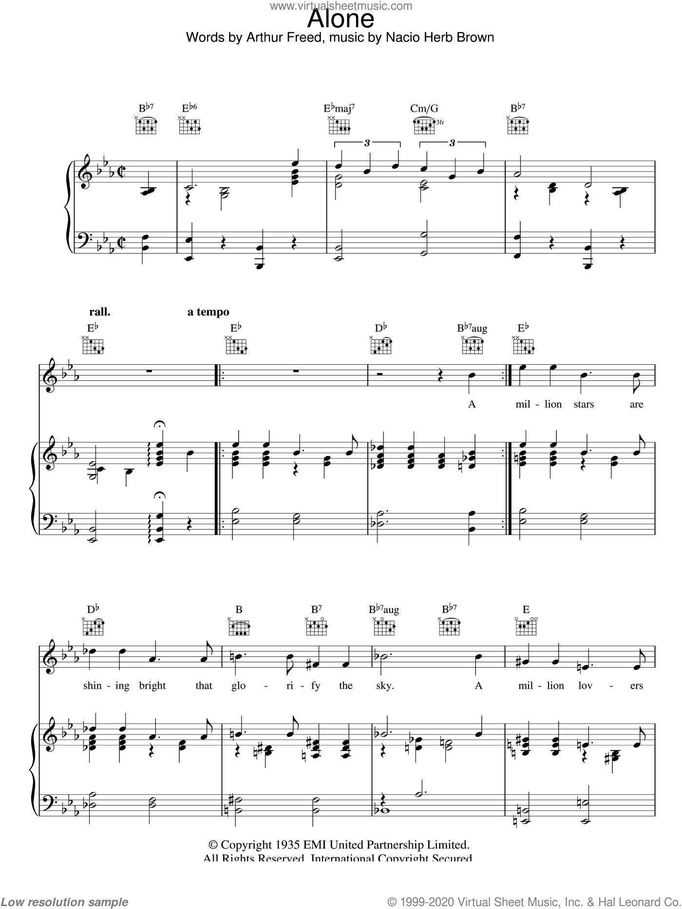 Alone sheet music for voice, piano or guitar by Nacio Herb Brown and Arthur Freed, intermediate skill level