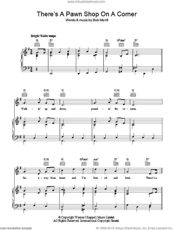 There's A Pawn Shop On A Corner (In Pittsburgh Pennsylvania) sheet music for voice, piano or guitar by Bob Merrill. Score Image Preview.