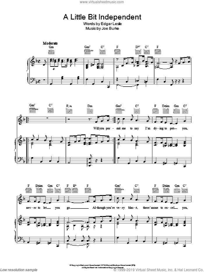 A Little Bit Independent sheet music for voice, piano or guitar by Joseph Burke