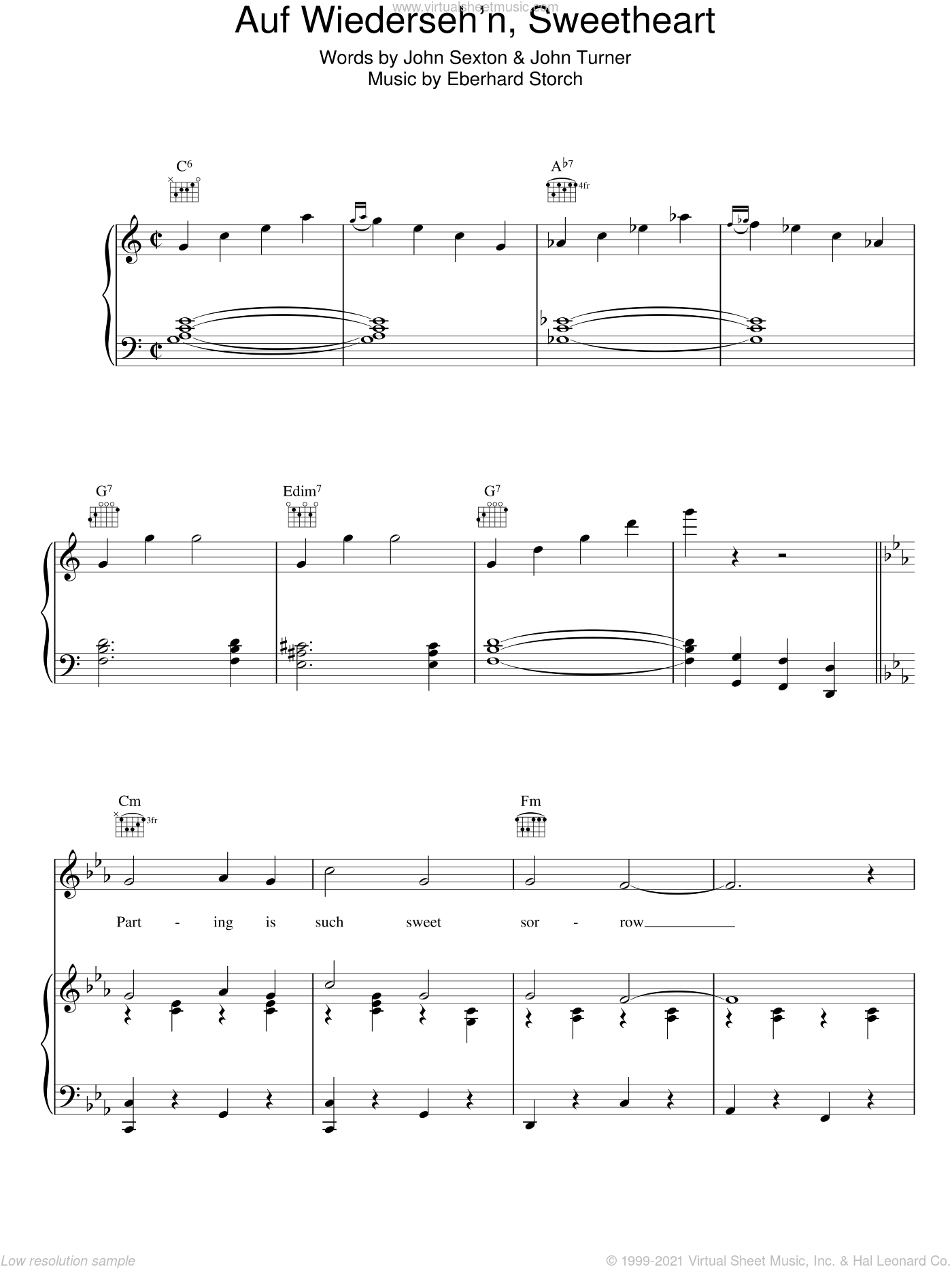 Auf Wiederseh'n, Sweetheart sheet music for voice, piano or guitar by Vera Lynn, Erhard Storch, John Sexton and John Turner, intermediate. Score Image Preview.