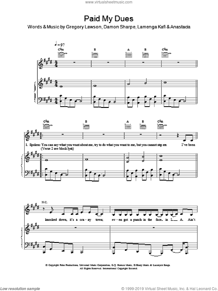 Paid My Dues sheet music for voice, piano or guitar by Martin Sharpe and Anastacia. Score Image Preview.
