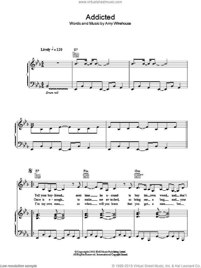 Addicted sheet music for voice, piano or guitar by Amy Winehouse, intermediate voice, piano or guitar. Score Image Preview.