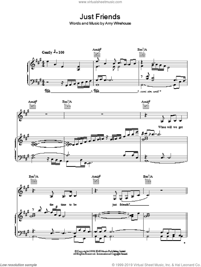 Just Friends sheet music for voice, piano or guitar by Amy Winehouse, intermediate. Score Image Preview.