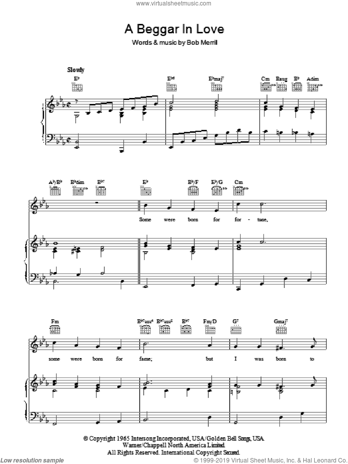 A Beggar In Love sheet music for voice, piano or guitar by Bob Merrill. Score Image Preview.