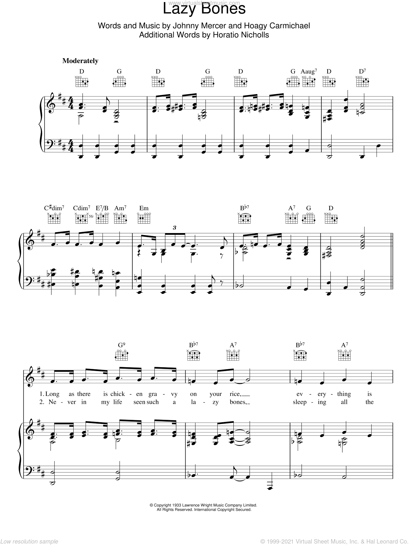 Lazy Bones sheet music for voice, piano or guitar by Hoagy Carmichael
