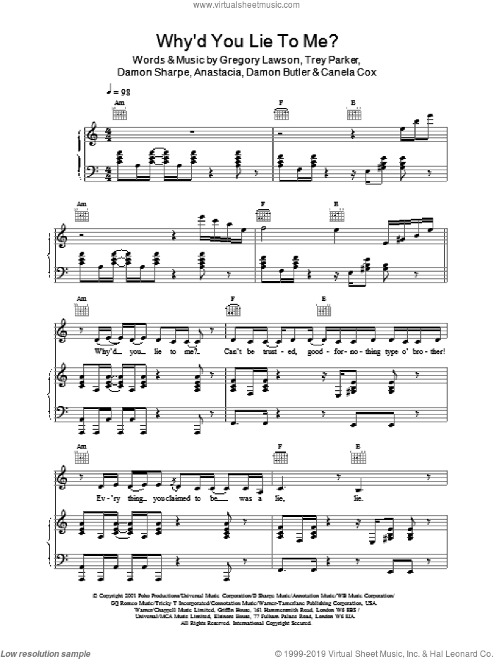Why'd You Lie To Me? sheet music for voice, piano or guitar by Anastacia, LAWSON and Martin Sharp. Score Image Preview.