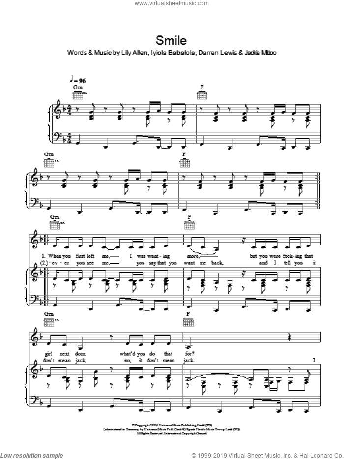 Smile sheet music for voice, piano or guitar by Jackie Mittoo