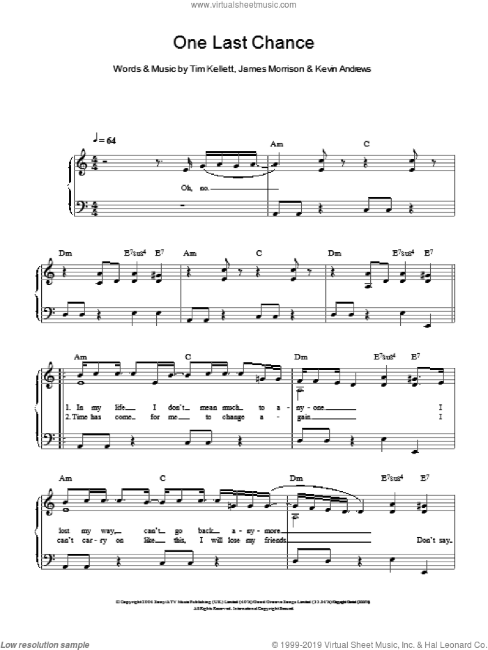 One Last Chance sheet music for piano solo by Tim Kellett, James Morrison and Kevin Andrews. Score Image Preview.