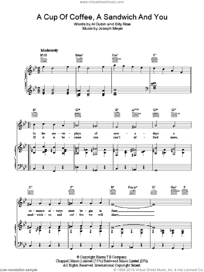 A Cup Of Coffee, A Sandwich And You sheet music for voice, piano or guitar by Joseph Meyer, Al Dubin and Billy Rose, intermediate