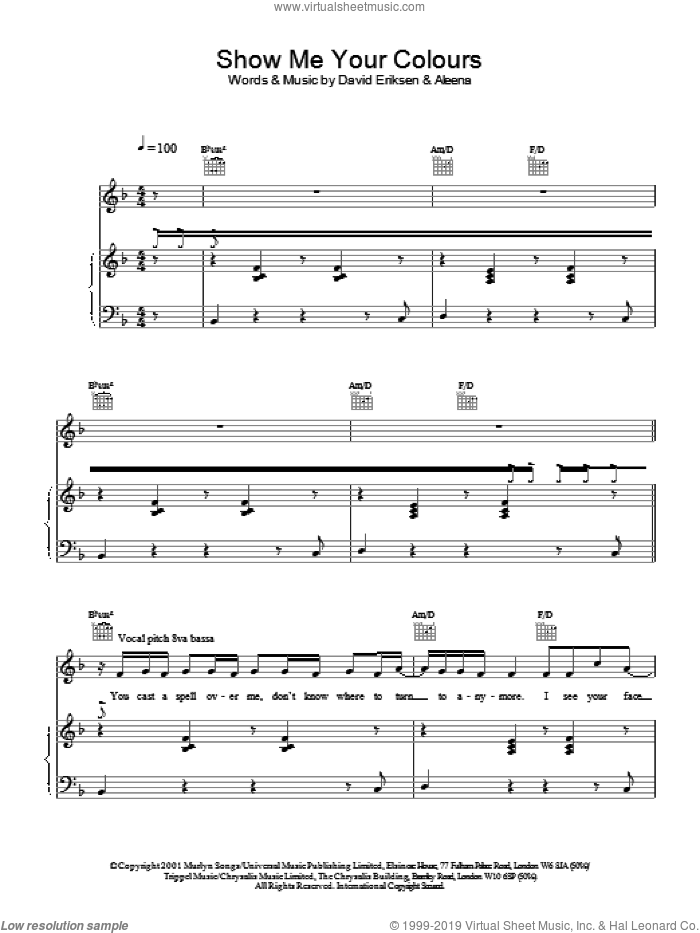 Show Me Your Colours sheet music for voice, piano or guitar by David Eriksen and S Club 7. Score Image Preview.