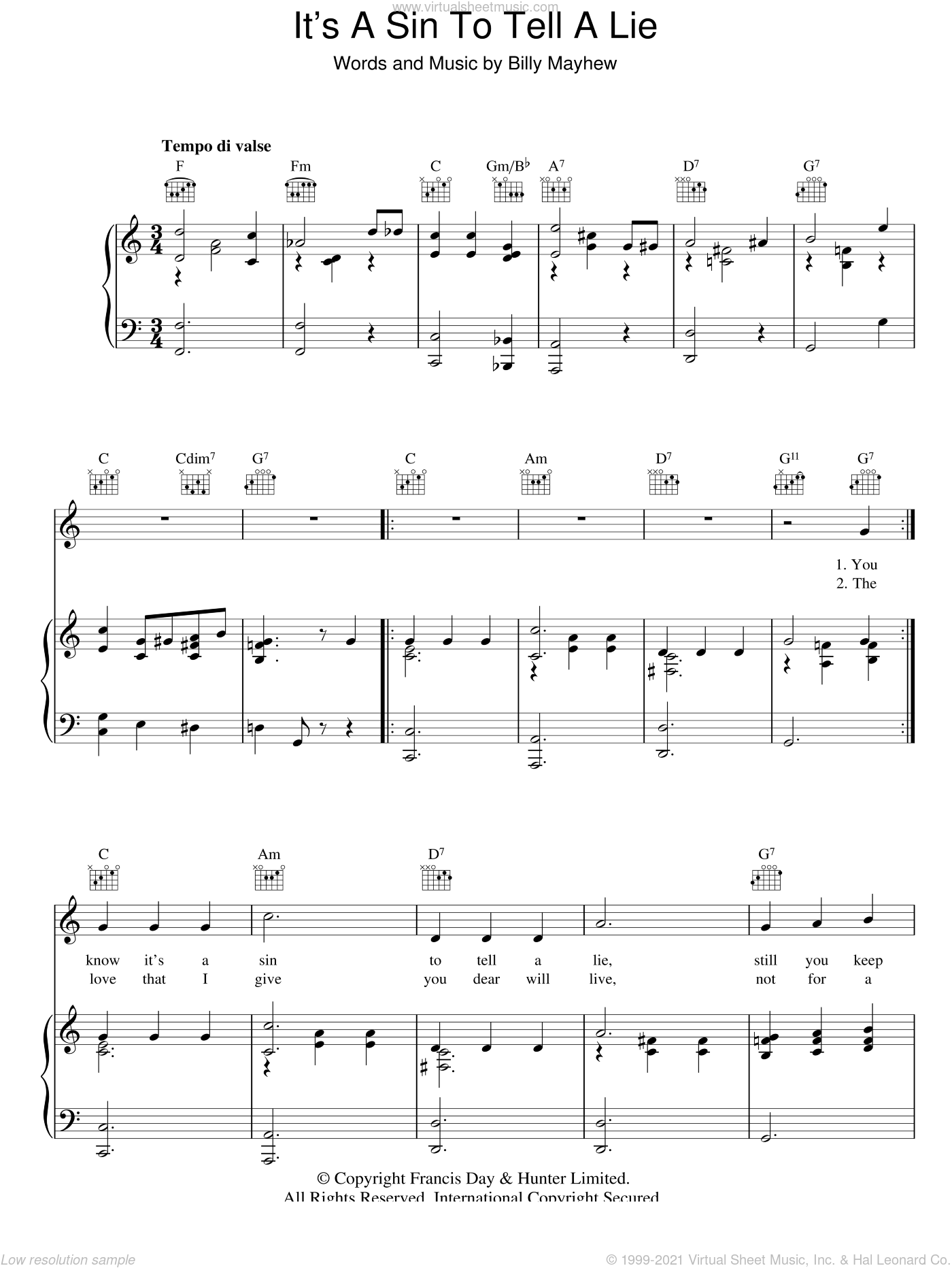 It's A Sin To Tell A Lie sheet music for voice, piano or guitar by Billy Mayhew, intermediate. Score Image Preview.