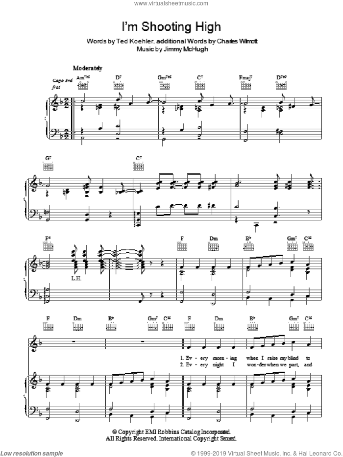 I'm Shooting High sheet music for voice, piano or guitar by Jimmy McHugh and Ted Koehler, intermediate. Score Image Preview.