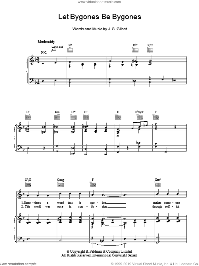 Let Bygones Be Bygones sheet music for voice, piano or guitar by Joseph Gilbert. Score Image Preview.