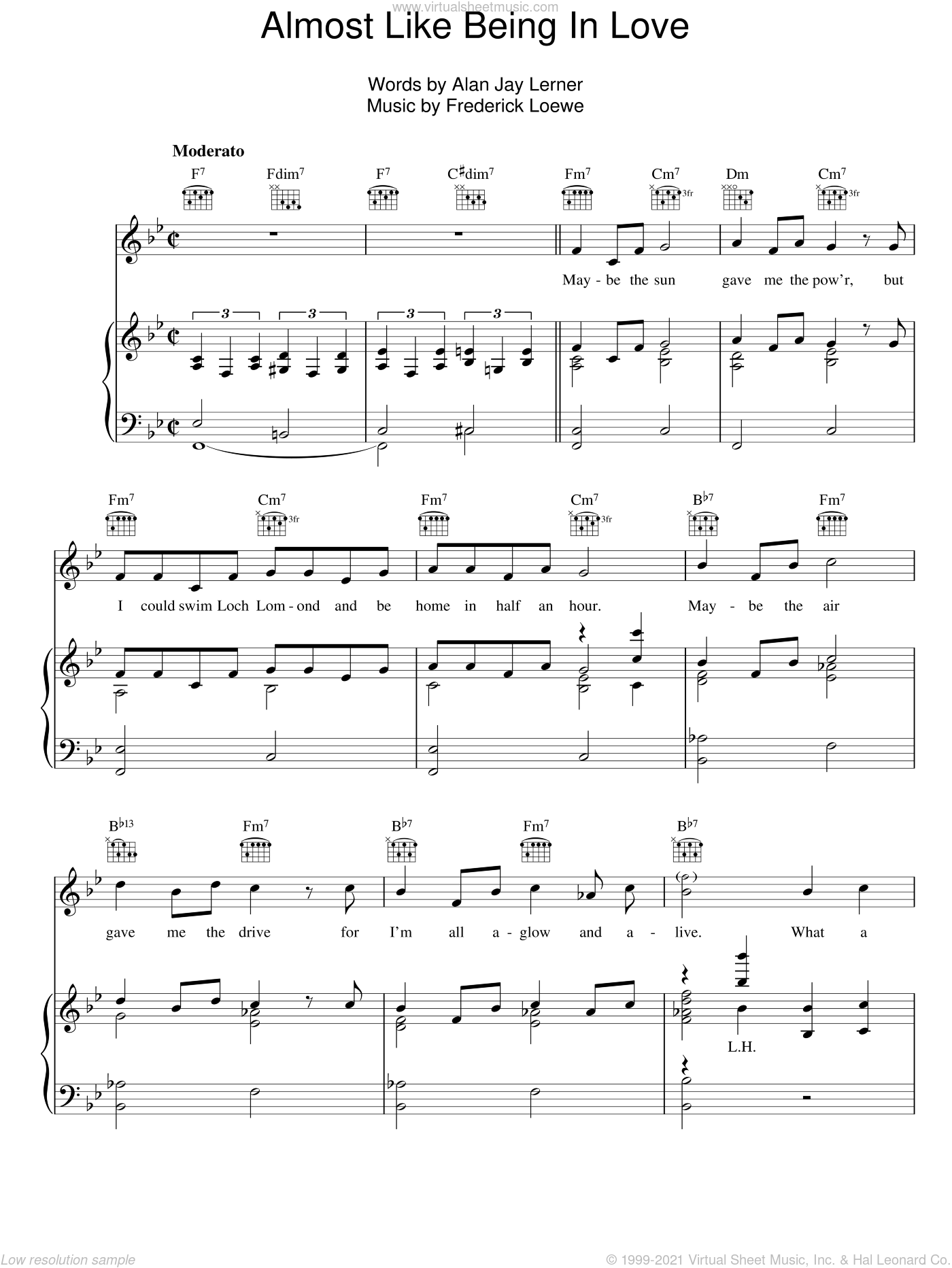 Almost Like Being In Love sheet music for voice, piano or guitar by Lerner & Loewe, Alan Jay Lerner and Frederick Loewe, intermediate skill level