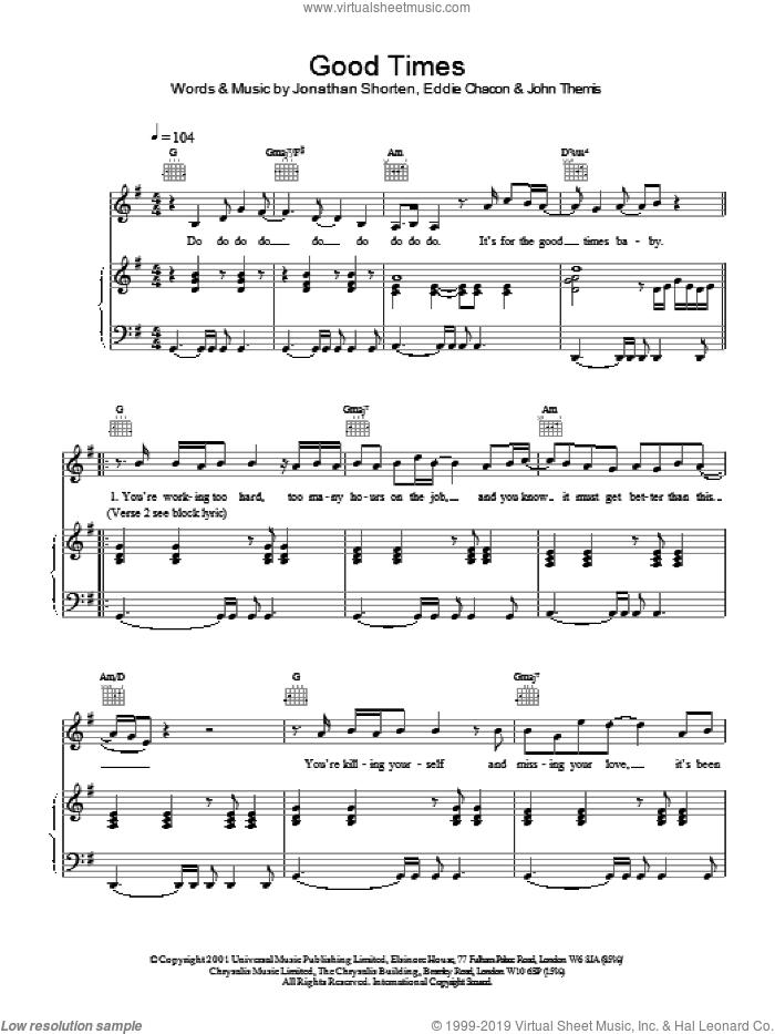 Good Times sheet music for voice, piano or guitar by Jonathan Shorten