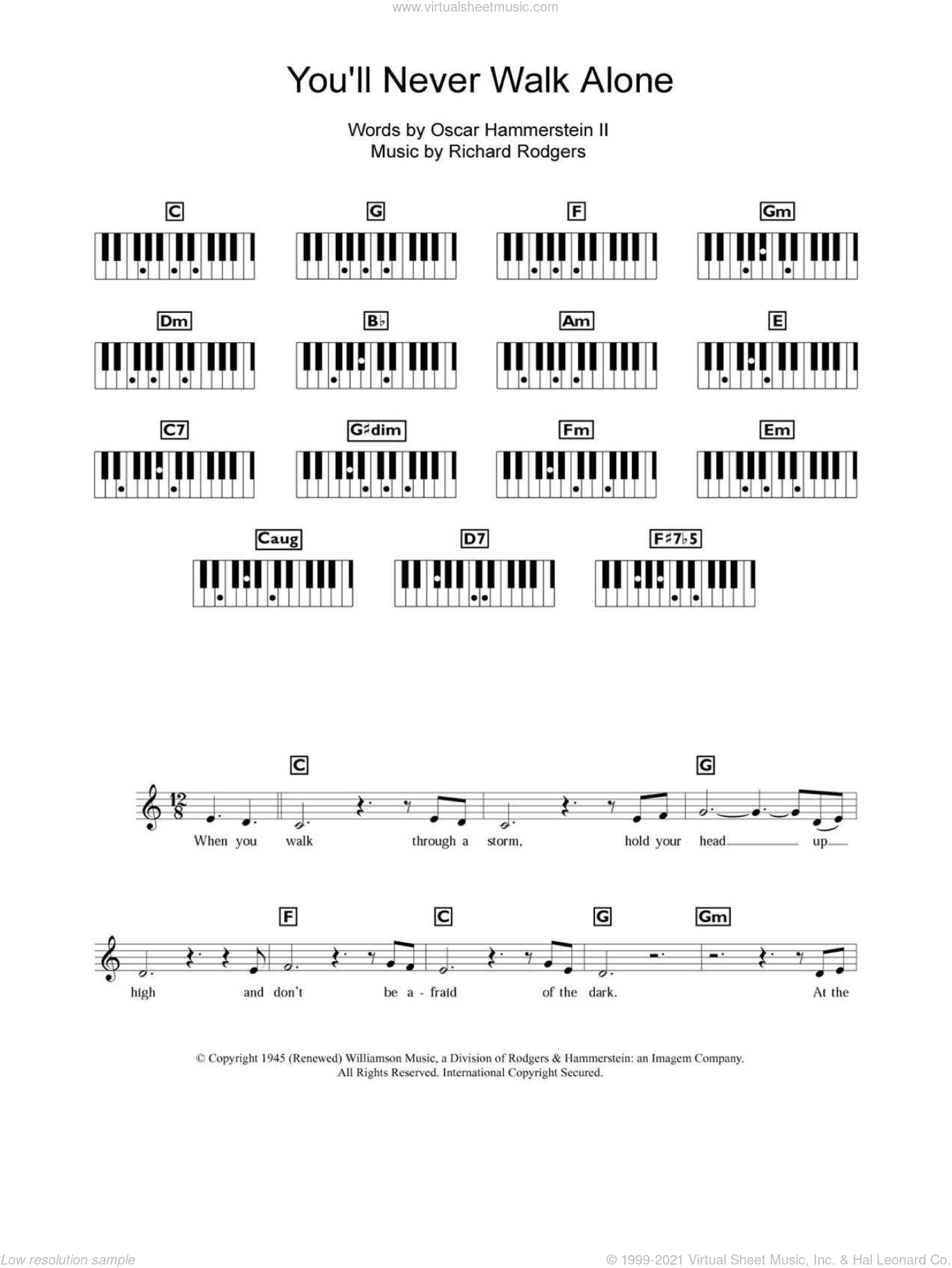 You'll Never Walk Alone sheet music for piano solo (chords, lyrics, melody) by Gerry & The Pacemakers, Rodgers & Hammerstein, Oscar II Hammerstein and Richard Rodgers. Score Image Preview.