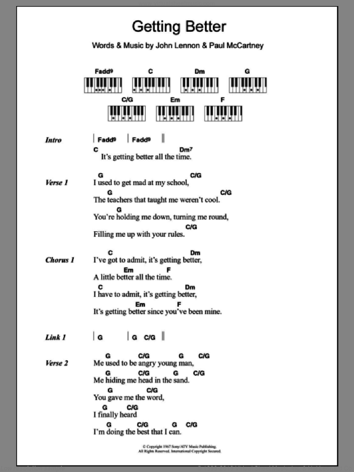 Getting Better sheet music for piano solo (chords, lyrics, melody) by Paul McCartney, The Beatles and John Lennon. Score Image Preview.
