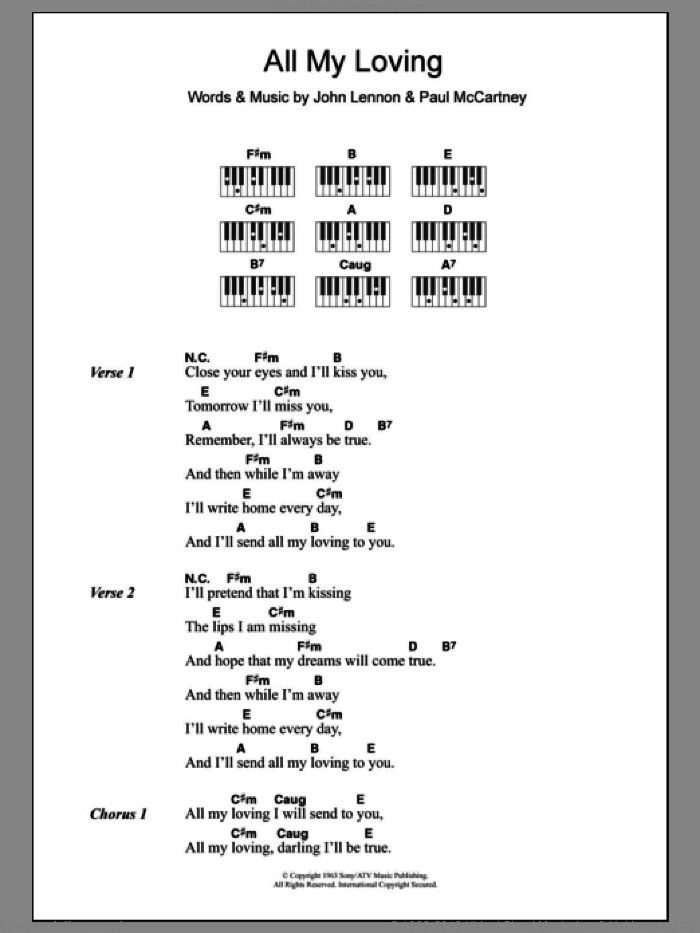 All My Loving sheet music for piano solo (chords, lyrics, melody) by The Beatles, John Lennon and Paul McCartney, intermediate piano (chords, lyrics, melody). Score Image Preview.