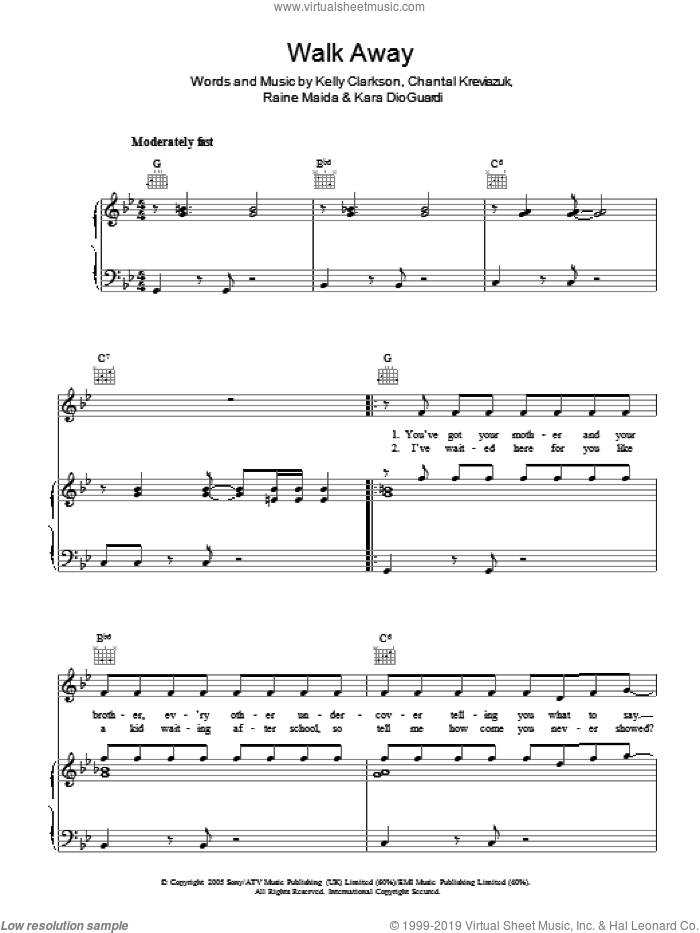 Walk Away sheet music for voice, piano or guitar by Kelly Clarkson, Chantal Kreviazuk and Kara DioGuardi, intermediate. Score Image Preview.