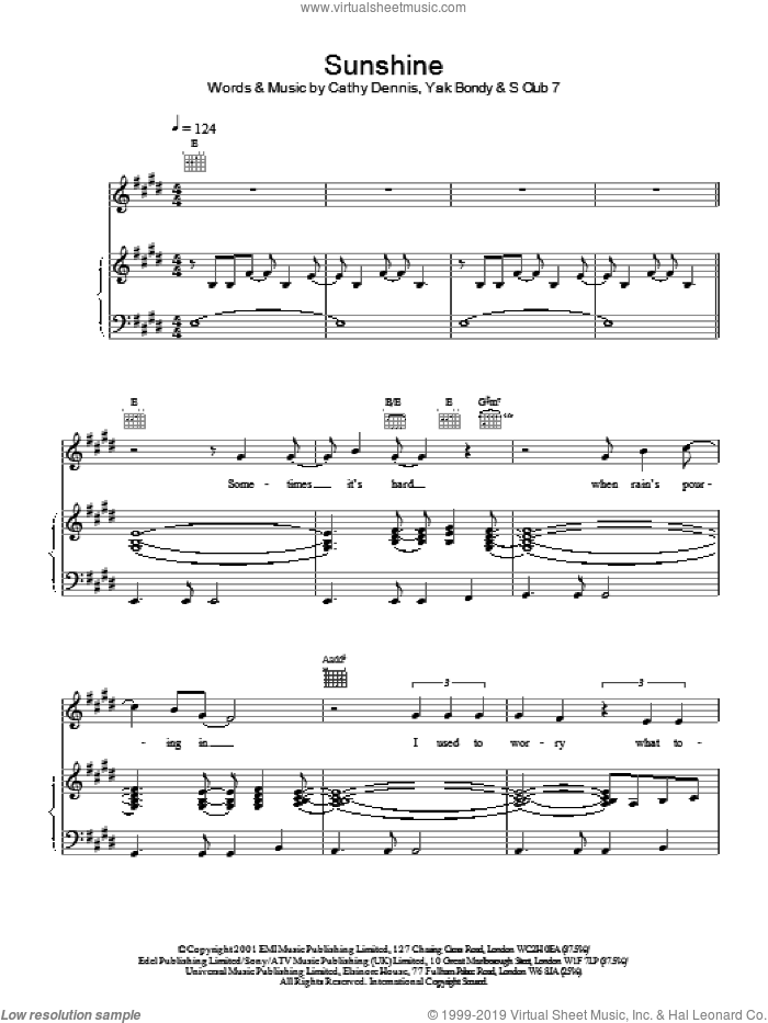 Sunshine sheet music for voice, piano or guitar by S Club 7, Cathy Dennis and Yak Bondy, intermediate skill level