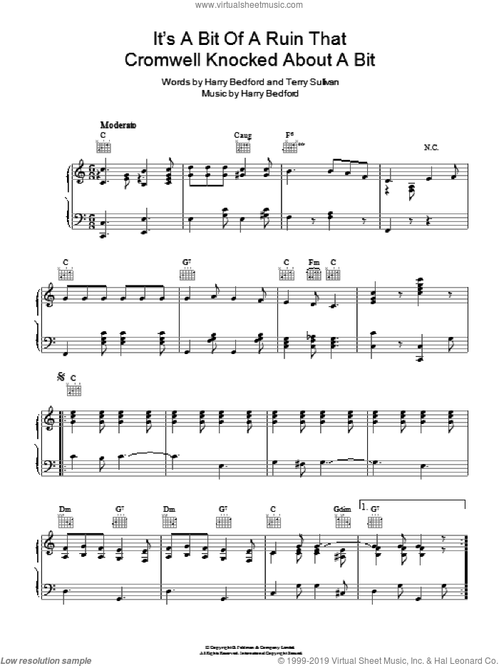 It's A Bit Of A Ruin That Cromwell Knocked About A Bit sheet music for voice, piano or guitar by Marie Lloyd, intermediate voice, piano or guitar. Score Image Preview.