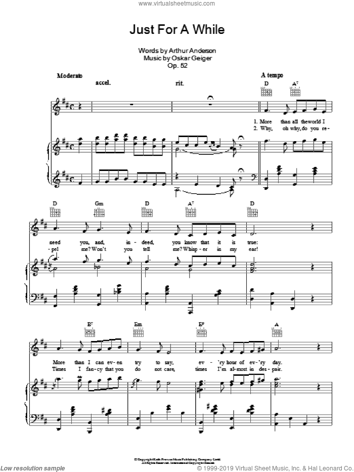 Just For A While sheet music for voice, piano or guitar by Loebel Rillo. Score Image Preview.
