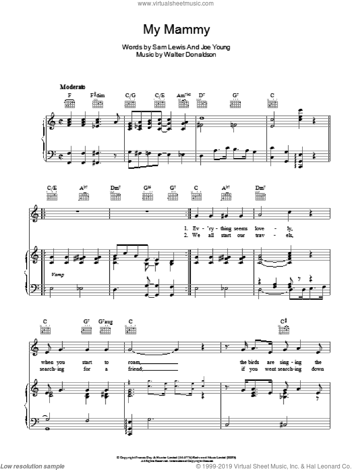 My Mammy sheet music for voice, piano or guitar by Walter Donaldson and Sam Lewis. Score Image Preview.