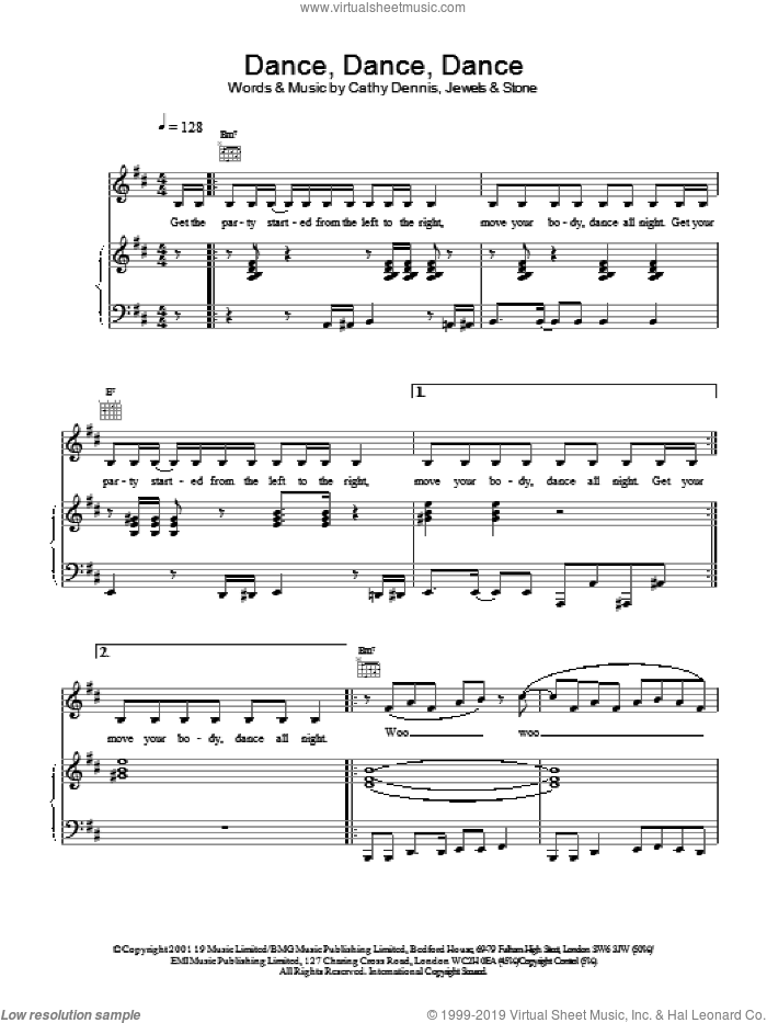 Dance, Dance, Dance sheet music for voice, piano or guitar by S Club 7 and Cathy Dennis, intermediate skill level
