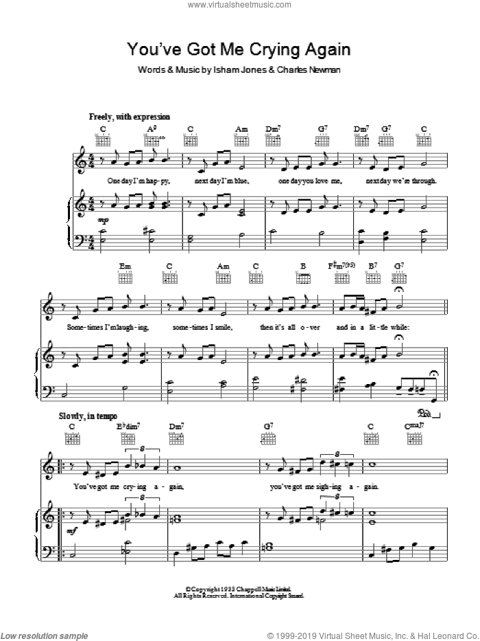 You've Got Me Crying Again sheet music for voice, piano or guitar by Isham Jones, Bing Crosby and Charles Newman. Score Image Preview.