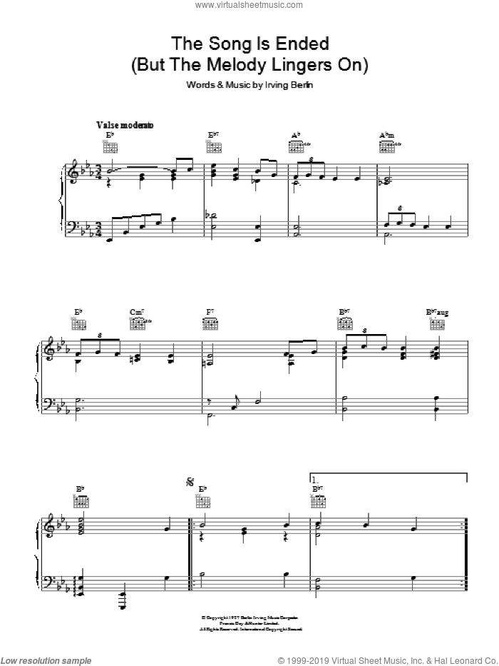 The Song Is Ended (But The Melody Lingers On) sheet music for voice, piano or guitar by Irving Berlin. Score Image Preview.