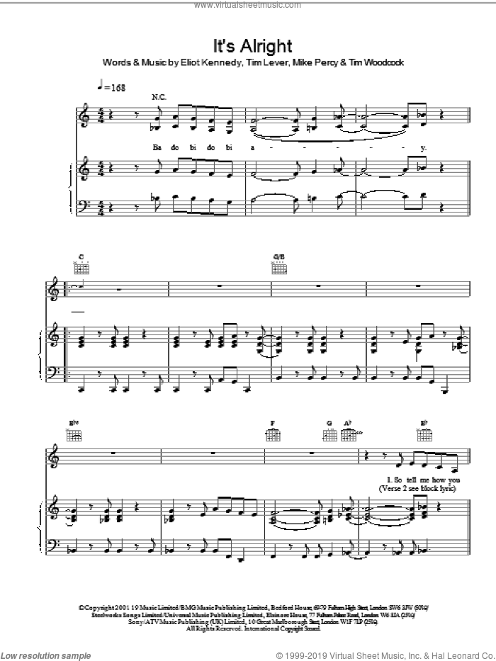 It's Alright sheet music for voice, piano or guitar by S Club 7, Eliot Kennedy, Mike Percy and Tim Lever, intermediate skill level