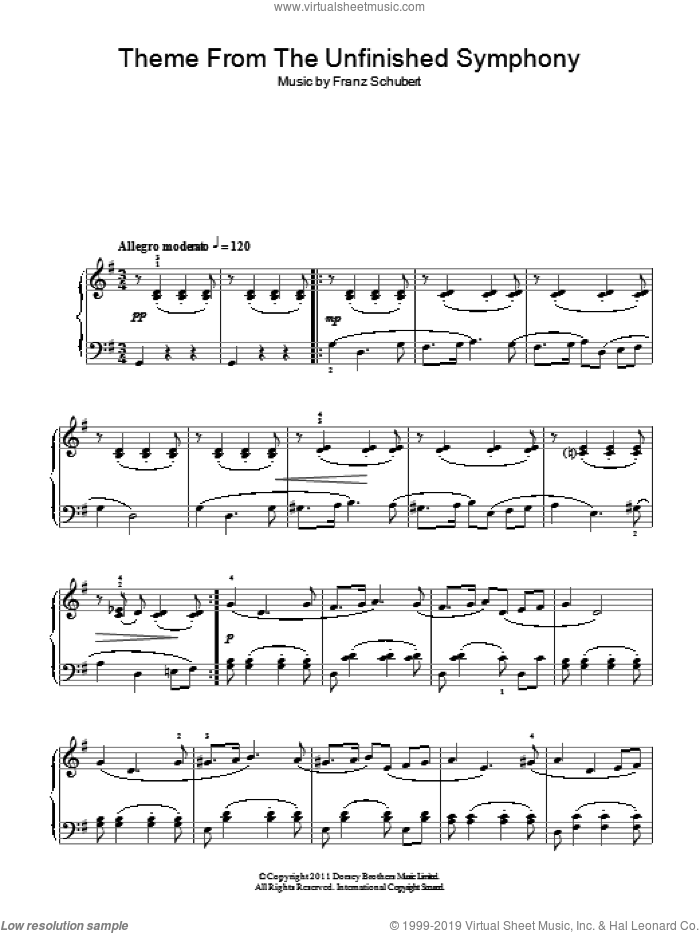 Theme From The Unfinished Symphony sheet music for piano solo by Franz Schubert. Score Image Preview.