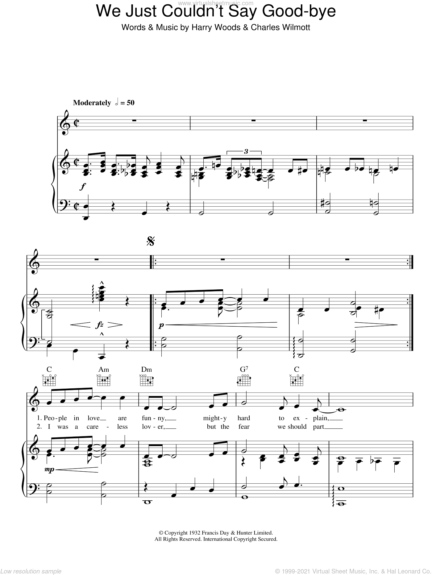 We Just Couldn't Say Goodbye sheet music for voice, piano or guitar by Patti Page and Harry Woods. Score Image Preview.