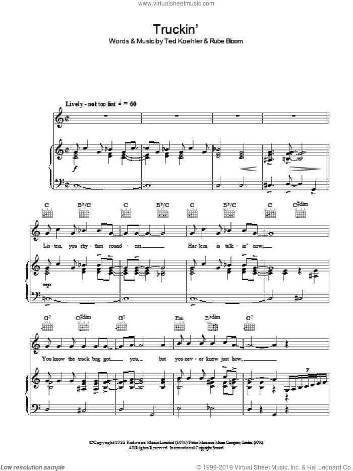 Truckin' sheet music for voice, piano or guitar by Ted Koehler, Thomas Waller and Rube Bloom, intermediate skill level