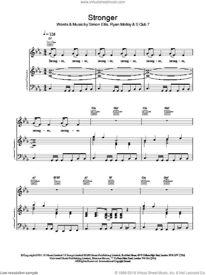 Stronger sheet music for voice, piano or guitar by S Club 7, Ryan Molloy and Simon Ellis, intermediate skill level