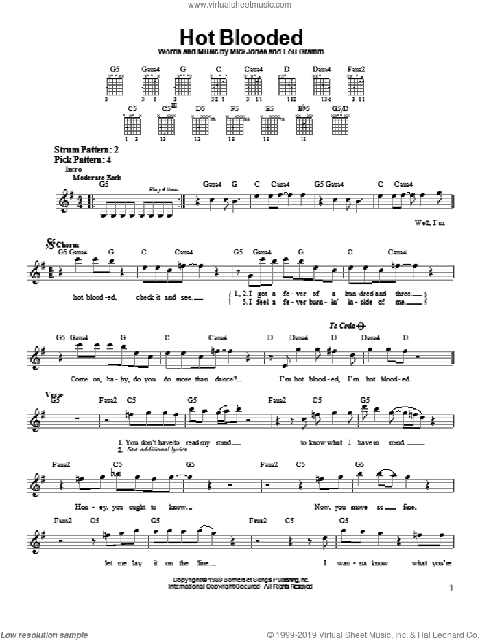 Hot Blooded sheet music for guitar solo (chords) by Foreigner, Lou Gramm and Mick Jones, easy guitar (chords)