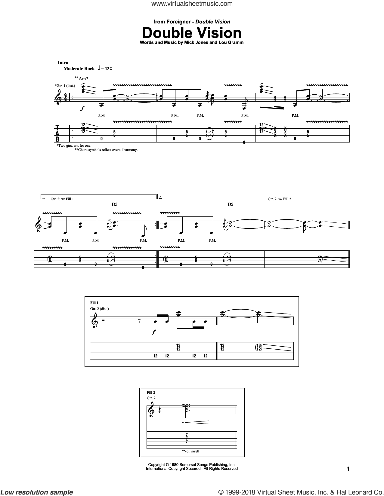 Double Vision sheet music for guitar (tablature) by Foreigner, Lou Gramm and Mick Jones, intermediate skill level