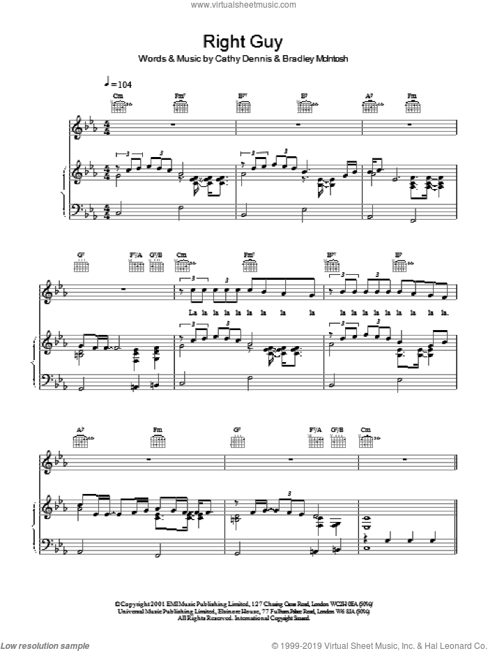 Right Guy sheet music for voice, piano or guitar by S Club 7, Bradley McIntosh and Cathy Dennis, intermediate skill level