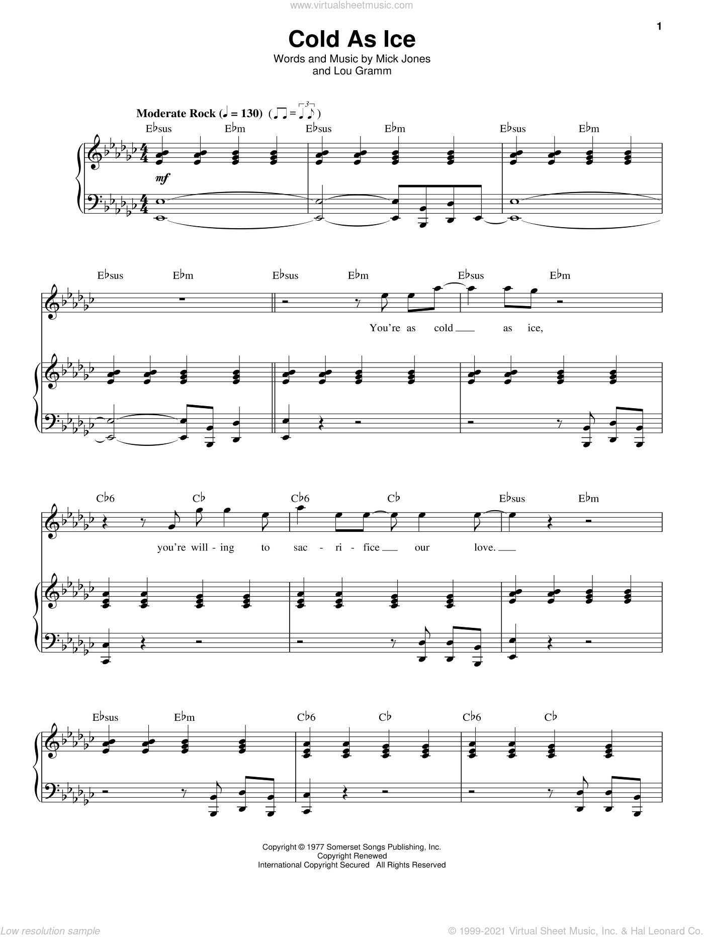Cold As Ice sheet music for voice and piano by Foreigner, Lou Gramm and Mick Jones, intermediate skill level