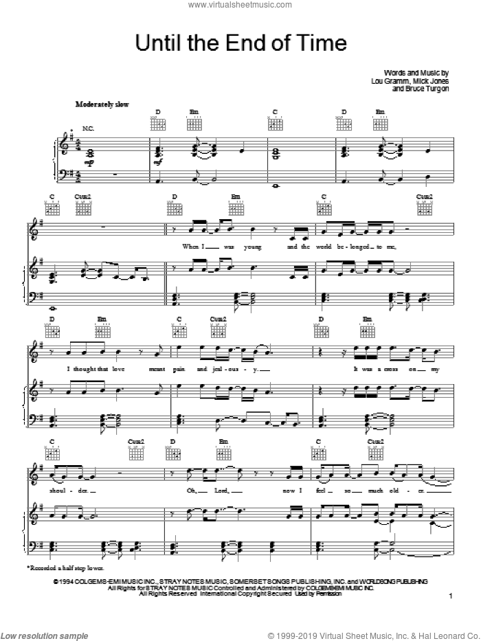 Until The End Of Time sheet music for voice, piano or guitar by Foreigner, Bruce Turgon, Lou Gramm and Mick Jones, intermediate skill level