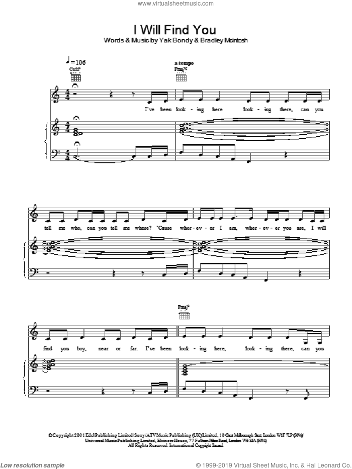 I Will Find You sheet music for voice, piano or guitar by Yak Bondy and S Club 7